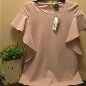 Women's Worthington pink rose ruffle shirt NWT xs